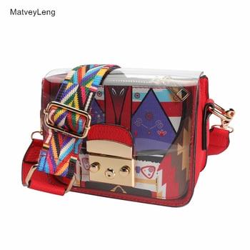 Fashion Wide Shoulder Strap Ladies Shoulder Messenger Bag Summer Jelly Bag Mini Transparent Funny Bag Lady Clutch Free Shipping