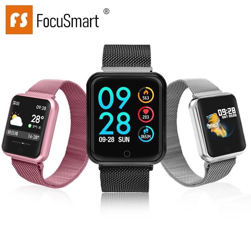2019 Focusmart nuevo P68 reloj inteligente multilingüe de la biblioteca en tiempo Real de la medición de frecuencia cardíaca inteligente recordatorio reloj inteligente