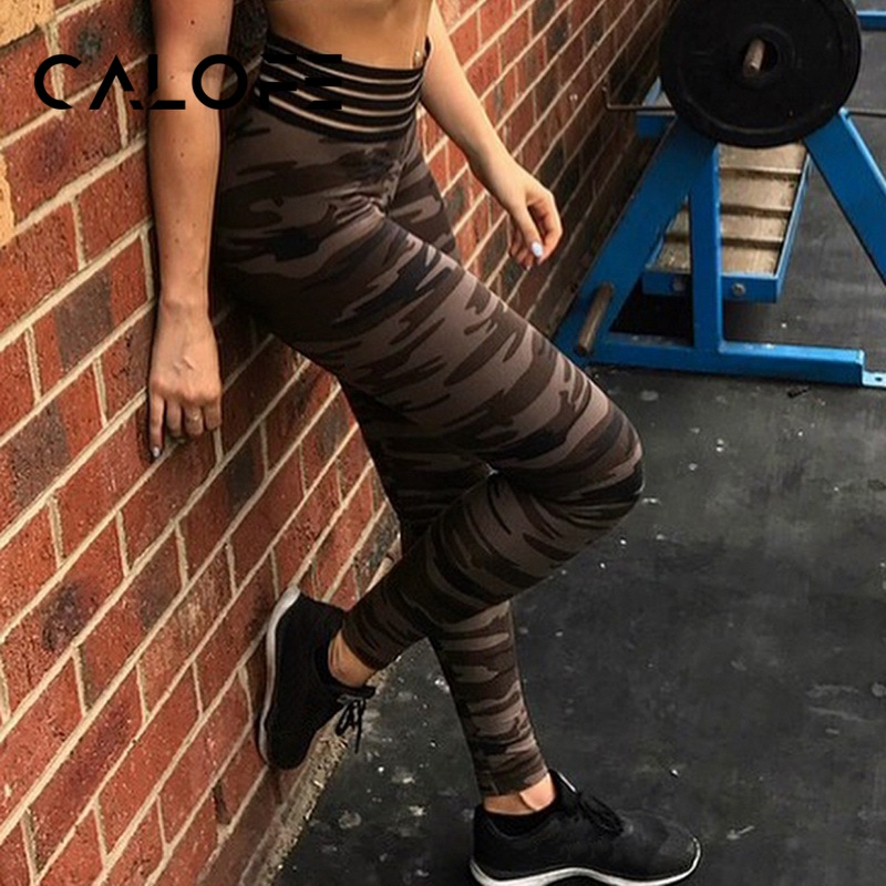 CALOFE Women Camo Printed Yoga Leggings High Waist Leggings Yoga Pants Fitness Gym Sports Pants Jogger Trainning Leggings