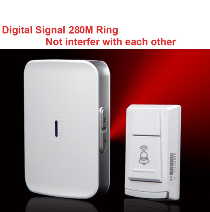 wireless door bell receiver by aa battery doorbell waterproof 280 meter door chime door ring. Black Bedroom Furniture Sets. Home Design Ideas