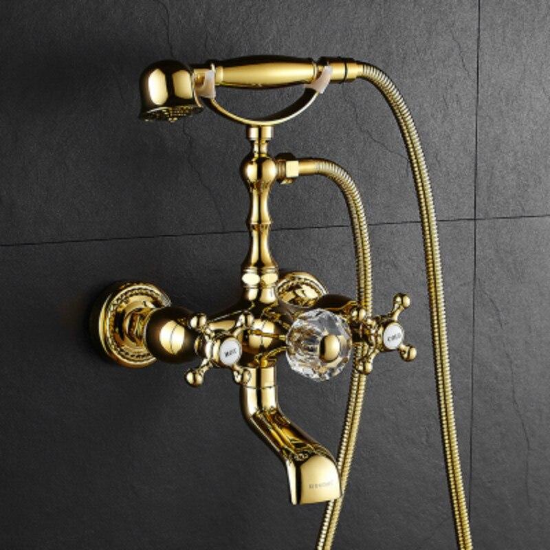 Wall mounted bathroom shower set antique solid copper - White porcelain bathroom fixtures ...