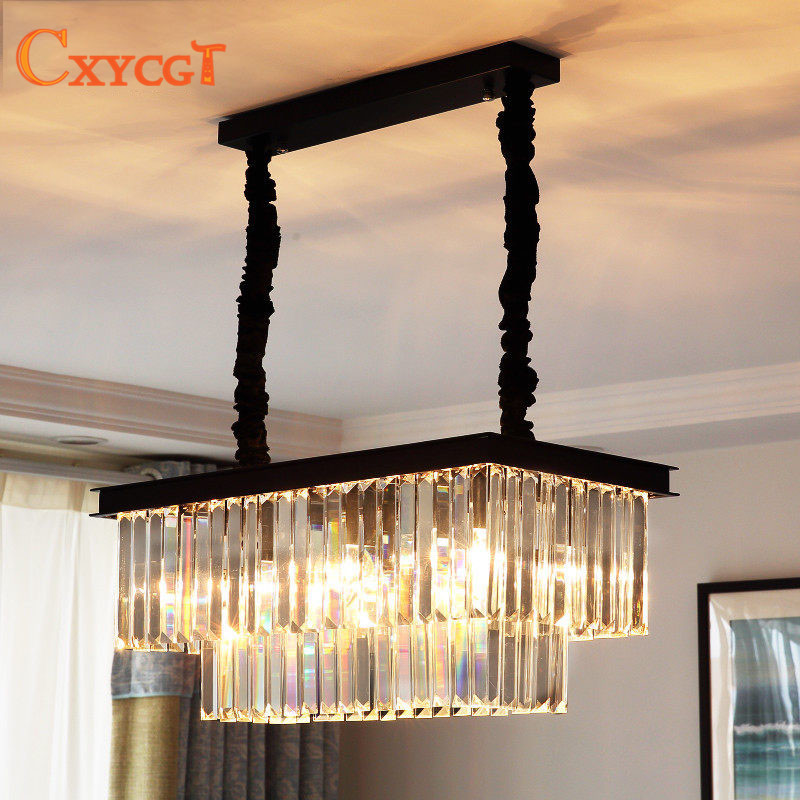 Best Price American Country Crystal Chandelier Dining Room Creative Rectangular Crystal Pendant Lamp LED Lighting RH Chandelier american countryside crystal chandelier 4 heads e14 indoor lighting pendant lamp dining room chandelier lamps 220 110v wpl152