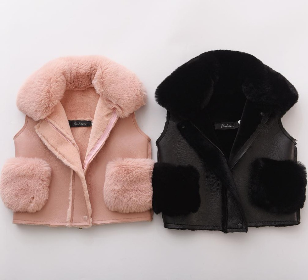 Kids Faux Fur Vest Fashion Warm Waistcoat Boy Girls PU Fox Collar Pink Jacket Coat Down Thicken Coat Black Outerwear Fur Vests etosell women faux fox fur shaggy waistcoat long hair lapel vest coat camel l