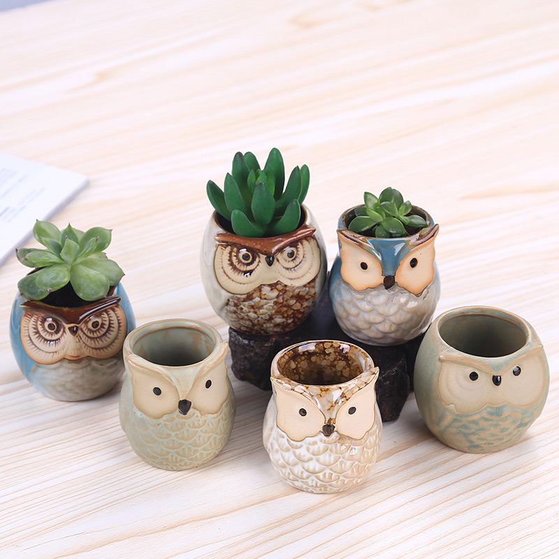 6Pcs Set Ceramic Owl Pot Succulent Plant Cactus Flower Pot Container Planter Bonsai Pots HG99