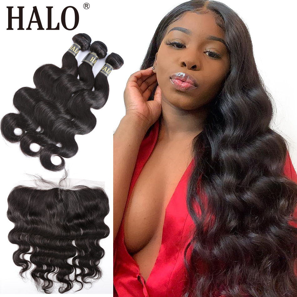 Halo hair Brazilian Body Wave Lace Frontal Closure 13X4 Free Part Pre Preplucked With 3/4 Bundles 100% Human Virgin Hair