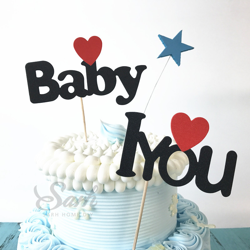 3pcs Red Heart Black Love Baby Dad Mom Birthday Cake Topper Party