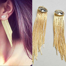 Fashion  Long crystal earrings tassel african drop jewelry stone chandelier bohemian luxury