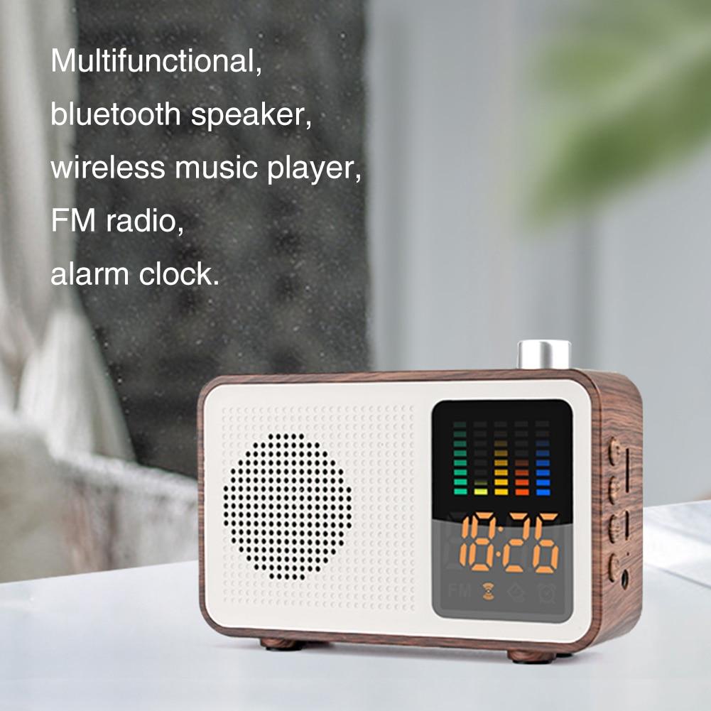 Bluetooth Speaker Bedroom FM Radio Digital Alarm Clock Modern Decoration Multipurpose USB Charging Wireless Music Home Stereo(China)