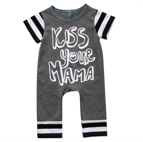 ed5b2b09c37b Kiss U Mama Newborn Baby Boy Romper Short Sleeve Cotton Rompers Jumpsuit  Outfit Toddler Kids Casual Suit 0-18M
