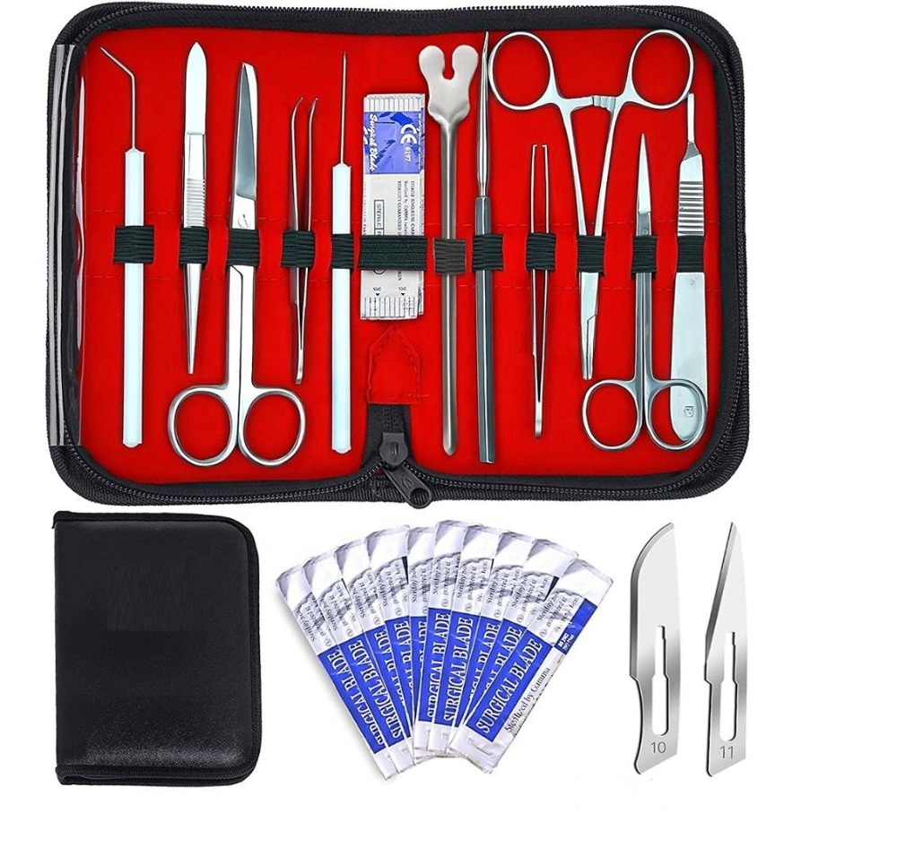 20 Pcs Advanced Dissection Kit For Anatomy Biology Nurse Student Kit With Scalpel Knife Handle -9 Blades - Case-Lab Veter