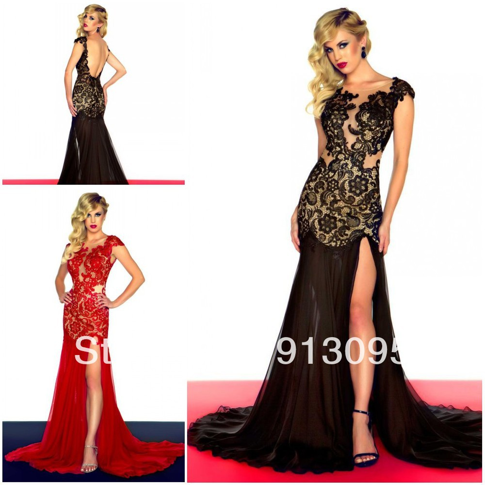 20cde9d02b8 2013 Sexy Open back Red black lace Special Occasions prom dress high Slit  Deep V neck see through evening dresses Free shipping