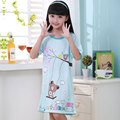 Kids girls summer pajamas Girl cartoon bear pattern comfortable style sling nightdress girls nightgown nightshirt Factory Direct