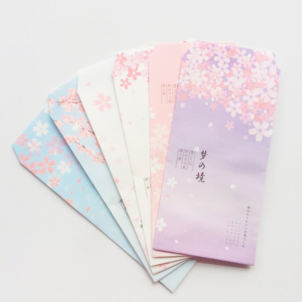 6PCS Fresh Dream Sakura Paper Envelope Creative DIY Tool Greeting Card Cover Scrapbooking Gift