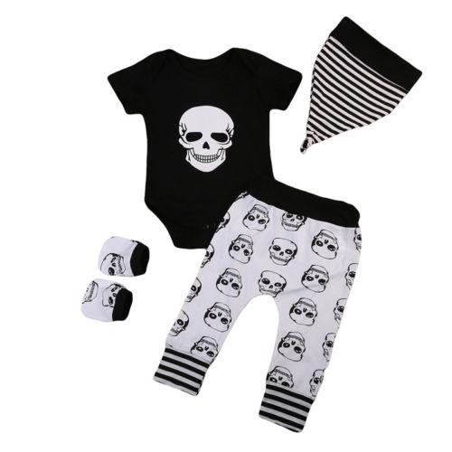 4PCS Infant Baby Boy Girl Skull Clothes Short Sleeve Romper +Long Pants Hat Sock Halloween Outfits Set