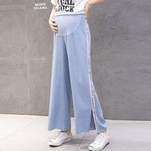 Wide Leg Loose Maternity Jeans Pregnant Women Spring Summer Adjustable Elastic Waist Cotton Pregnancy Maternity Clothes Trousers недорого