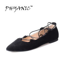 PHYANIC 2017 Spring New Arrival Women Ballet Flats Women Ankle Strap Summer Shoes Woman Flats Ladies Shoes Zapatos Mujer Black