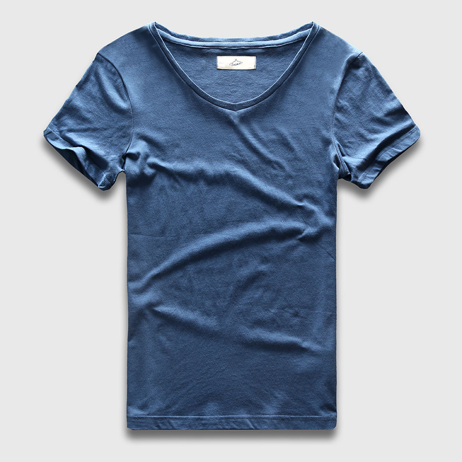 Zecmos 2017 Slim Fit V-Neck T-Shirt Män Basic Plain T-shirt Man Kläder Solid Bomull Top T-shirts Kortärmad Mode