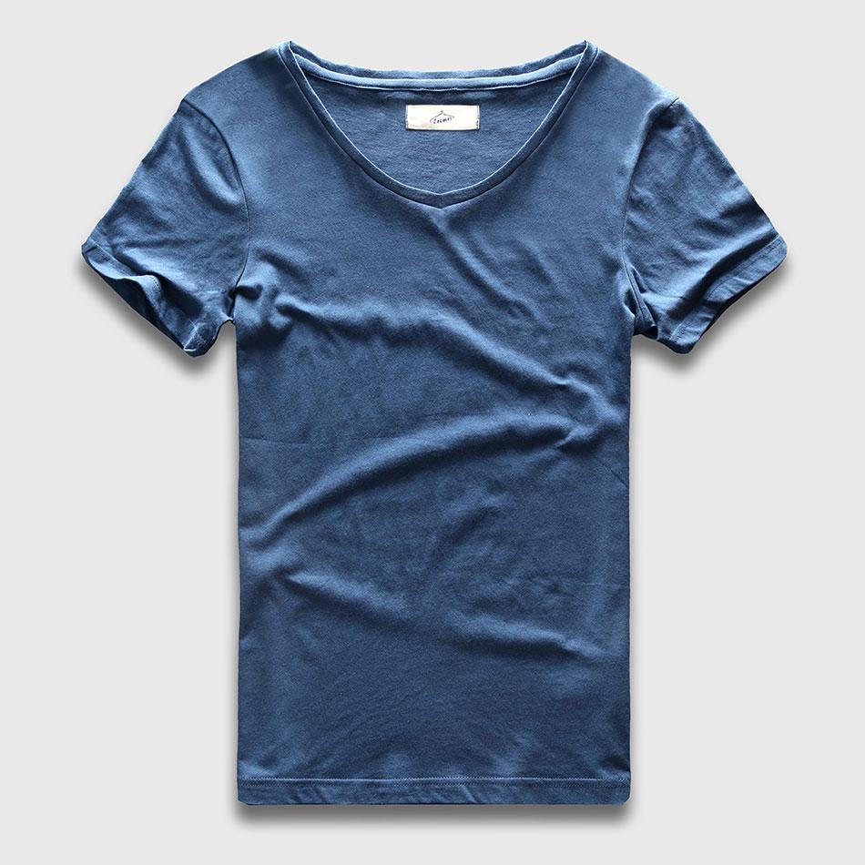 Zecmos 2017 Slim Fit V-Neck   T  -  Shirt   Men Basic Plain   T     Shirt   Male Clothes Solid Cotton Top Tees Short Sleeve Fashion