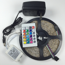 5 м 3528 Водонепроницаемая светодиодная лента RGB светодиодные осветительные полосы 12 в 60 светодиодный s/m tiras светодиодный для украшения пульта дистанционного управления 12 В 2A блок питания