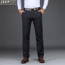 Бренд JEEP SPIRIT, деловые повседневные брюки, мужские прямые брюки из ткани Тенсел со средней талией, мужские брюки-карго размера плюс 29-42