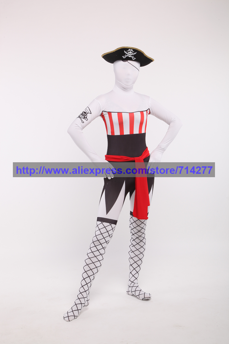 Custom Made <font><b>Sexy</b></font> Women Halloween Pirate Cosplay Costume Zentai Full Body Suit <font><b>Lycra</b></font> Unitard Spandex Suit Skin-tight <font><b>Catsuit</b></font> image