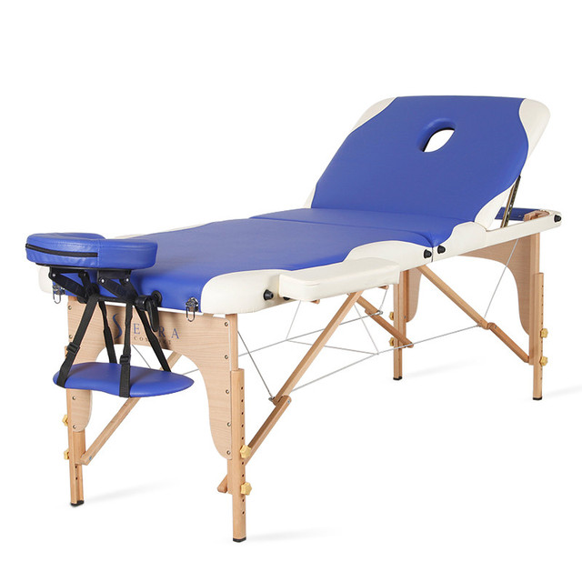 Home Use Foldable Portable Body Spa Massage Table Bed Adjustable Salon Furniture Sale Wooden Folding Bed Beauty Massage Table