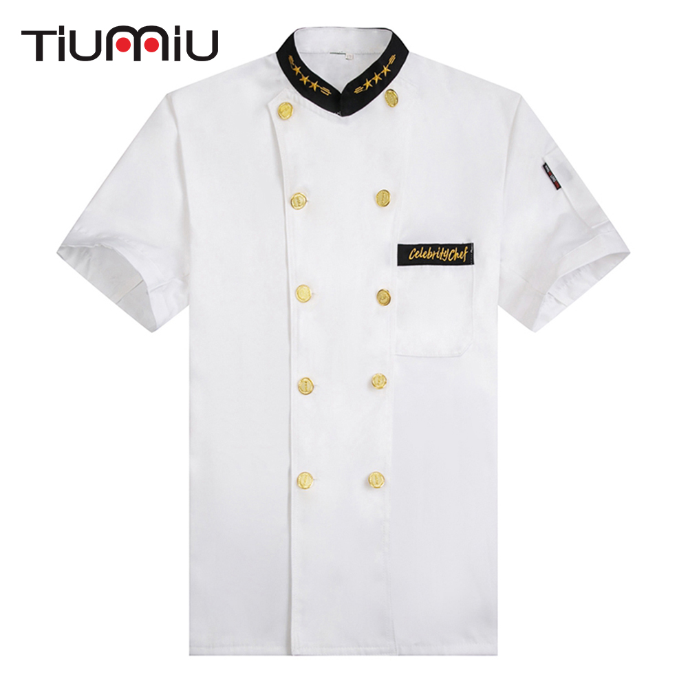 New Arrival White Chef Jackets Kitchen Cooking Workwear Clothes Short Sleeved Restaurant Cozinha Double-breasted Bakery Uniforms