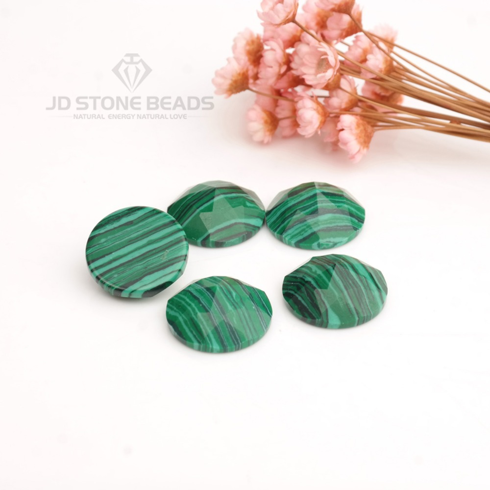 6-12MM Round Cabochon Flatback Natural Healing Stone Malachite Gemstone Crafts