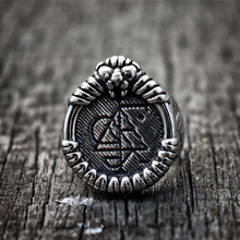 Lion Amulet Rune Signet Rings Mens Viking Nordic Silver Color Stainless Steel Ring Talisman Jewelry