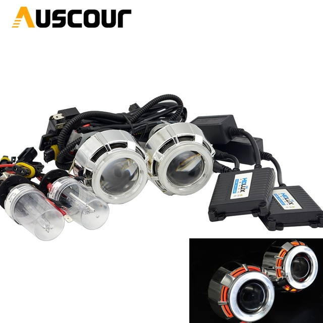 2.5inch bixenon hid car Projector lens angel eyes shrouds xenon kit ballast bulb fit for H1 H4 H7 headlight car assembly kit