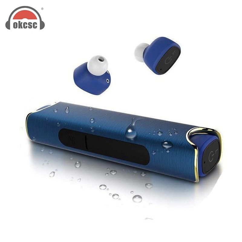 Okcsc auricular inalámbrico Bluetooth para teléfono IPX7 impermeable con Baterías portátiles magnético auriculares estéreo para iphone android