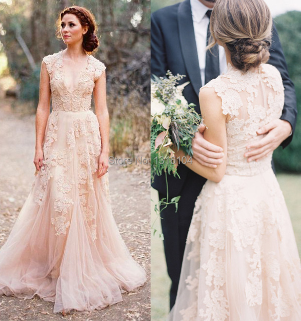 2016 New Light Champagne Deep V Neck Vintage Lace Bride Wedding Dresses Outdoor Floor Length