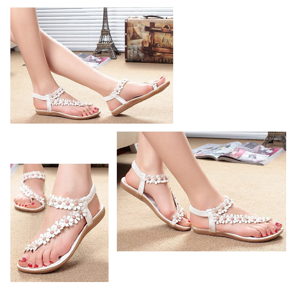 SCYL Summer Women Sandals  Fashion Bohemia Women's Shoes Flower Sandalias Femininas Casual Thong Flats Shoes Women summer sandalias mujer women sandals bohemia shoes beach sandalias femininas casual thong flats sapato feminino gold sliver