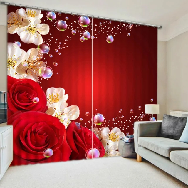 Red rose luxury blackout 3d curtains for living room - Cortinas de cuentas ...