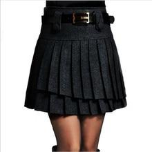 Осенне-зимняя юбка, модная женская плиссированная юбка с высокой талией, Женская универсальная короткая черная шерстяная юбка, юбки для женщин LY225