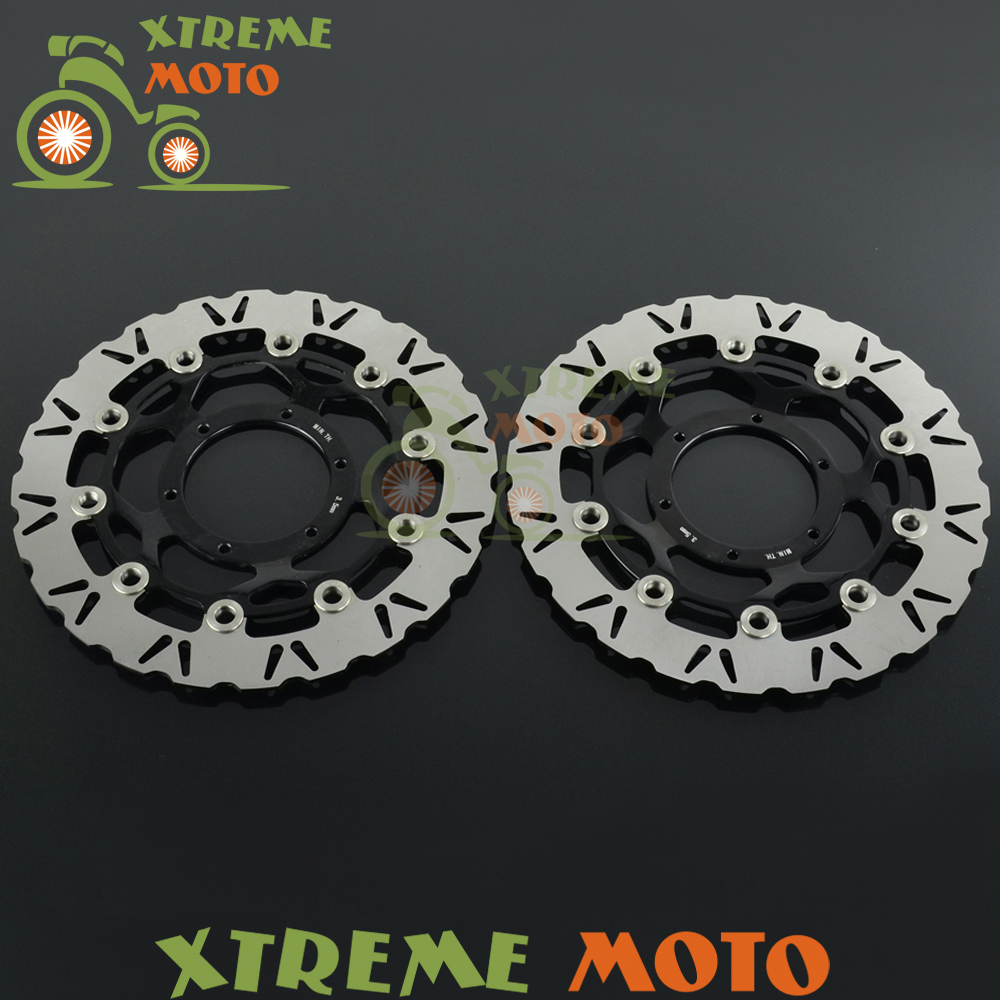 2Pcs Black Motorcycle Front Floating Brake Disc Rotor For CBR600RR 03-14 CBR1000RR 04-05 CB1000R 08-14 CB1284 03-08 mfs motor motorcycle part front rear brake discs rotor for yamaha yzf r6 2003 2004 2005 yzfr6 03 04 05 gold