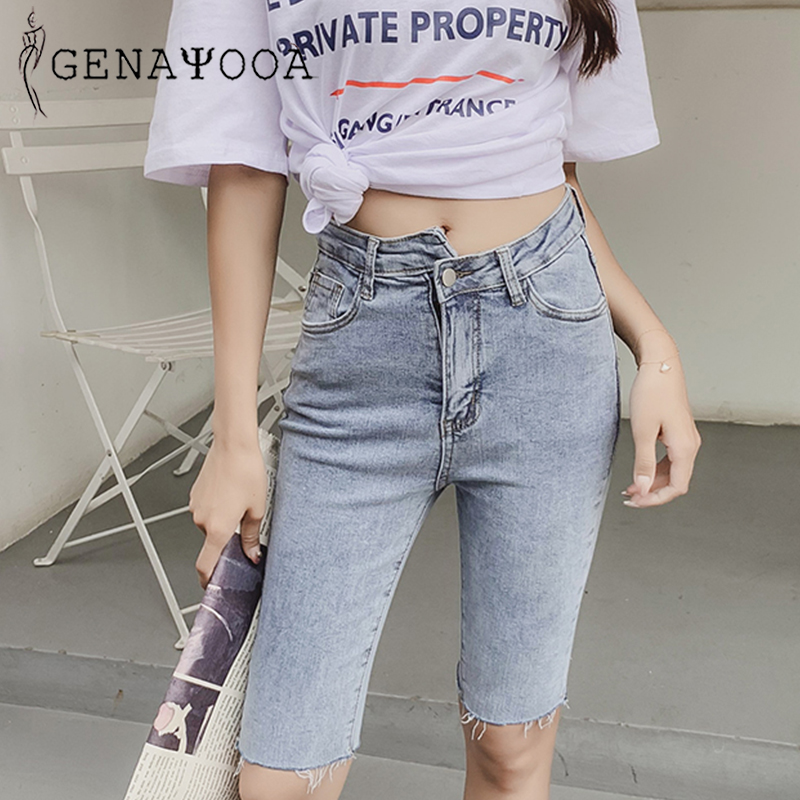 Genayooa Streetwear Elastic Spandex Shorts Women Knee Length High Waist Jeans Shorts Women Black Denim Shorts Biker Shorts Punk