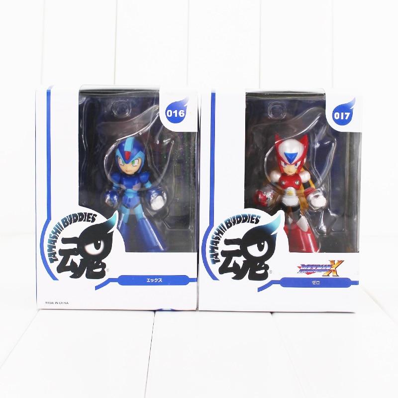 2pcs/lot 10cm Rockman Mega Man Tamashi Nations Buddies Zero PVC figure model toy red and blue collectible model toy rockman action figures nendoroid megaman x zero figure cannon pvc 10cm collectible model toy mega man bulb base