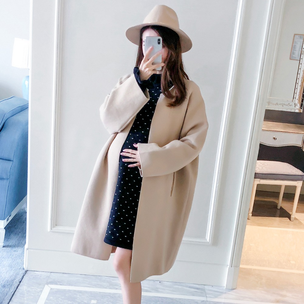 Pregnant women coat 2018 autumn and winter new fashion large size loose maternity dress Korean version of the cardigan autumn and winter new fashion maternity dress loose large size hooded detachable denim clothing coat pregnant women coat
