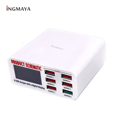 INGMAYA Multi Port Charger 6 USB 5V8A Quick Charge 3.0 LCD Show Charging For iPhone iPad Samsung Huawei Nexus Meizu Power Supply