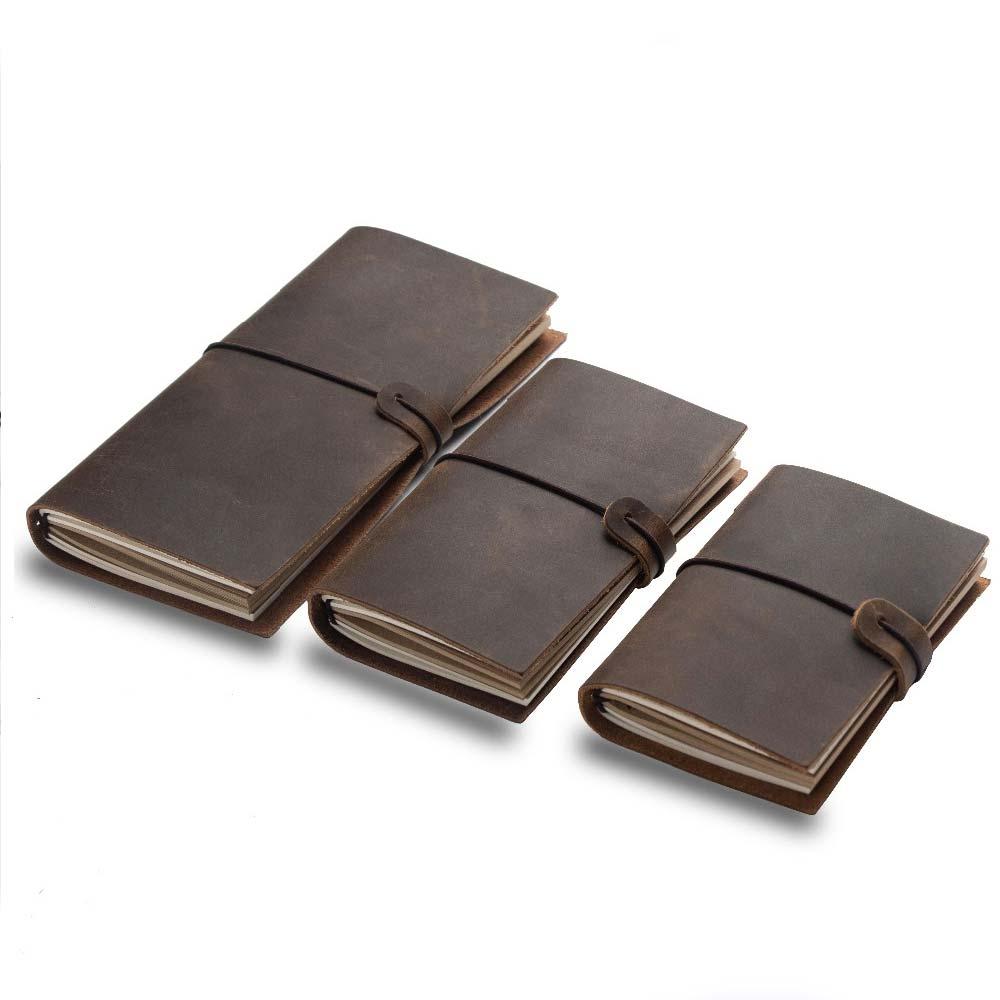 Caderno viajante do viajante diário de couro feito à mão nota livro diário da escola do couro vintage estacionário a5 a6 a7 mini