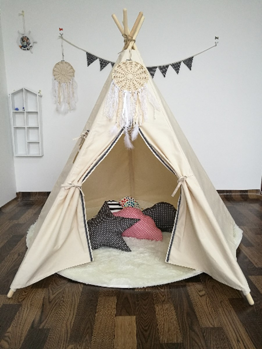 beige large kids princess tent net canvas pretend play tipi outdoor indoor adult canopies bedroom decoration home textilesin mosquito net from home