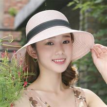 Verano mujeres damas paja Cap Bowknot Sun Floppy sombrero playa plegable  Casual Bonnet sombreros Beige negro f7ffb655140