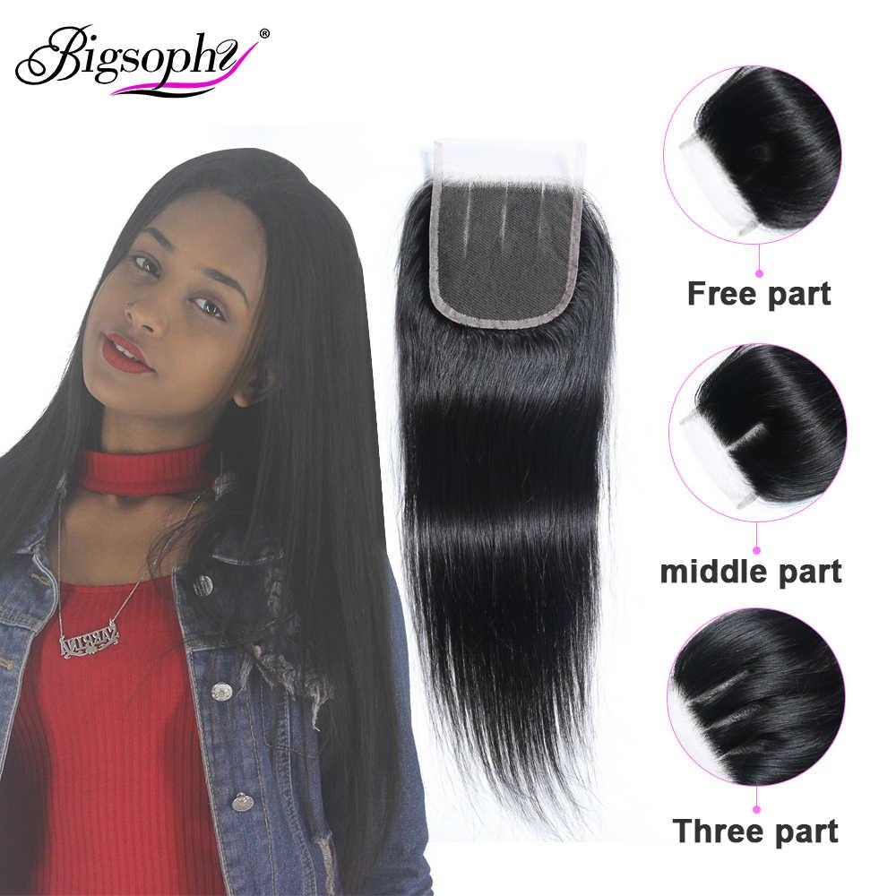 Pelo brasileño de Bigsophy cierre recto 100% cabello humano 8-22 pulgadas 4*4 Cierre de encaje Remy cabello tejido cierre frontal de encaje suizo