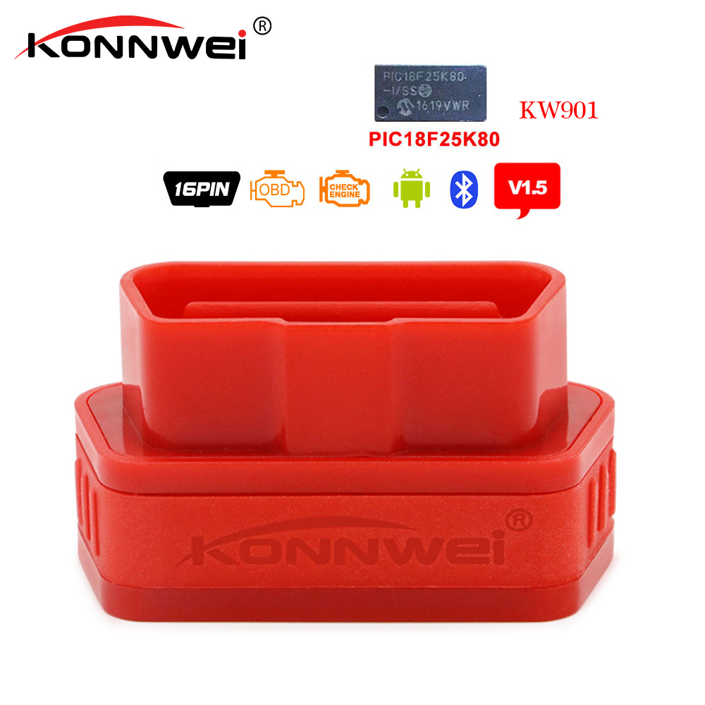 Konnwei KW901 OBD2 bluetooth V1.5 <font><b>Pic18f25k80</b></font> Chip Diagnostic tool Code Scanner Reader elm 327 obd2 Bluetooth Torque For Android image