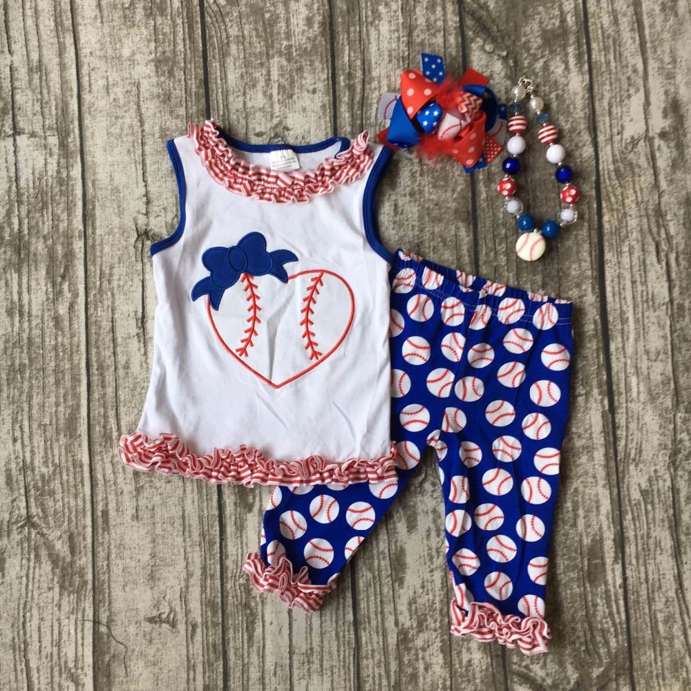 Summer design baby girls baseball print season heart boutique navy red ruffles cotton capri outfit clothes matching accessories 2pcs set newborn floral baby girl clothes 2017 summer sleeveless cotton ruffles romper baby bodysuit headband outfits sunsuit