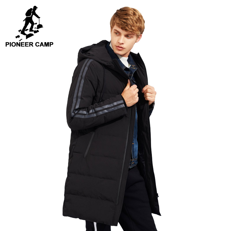Pioneer Camp new style thick winter down jacket men brand-clothing hooded long warm white duck down coat male quality AYR705109