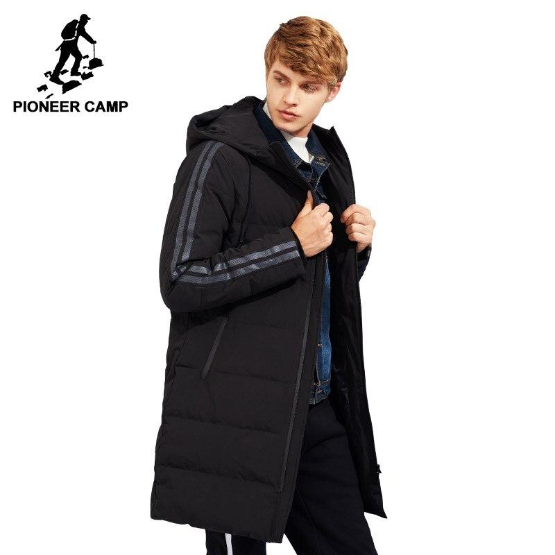 Pioneer Camp nouveau style épais d'hiver vers le bas veste hommes marque-vêtements capuche manches longues chaud blanc duvet de canard manteau mâle qualité AYR705109