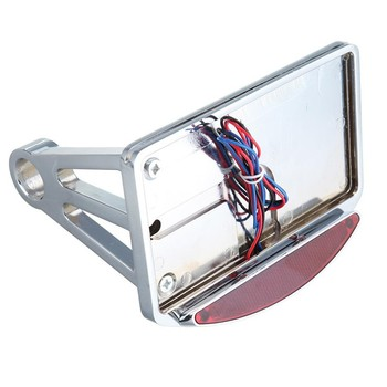 Motorcycle Chrome License Number Plate Taillight Side Mount LED Tail Brake Light For Harley Chopper Custom