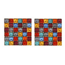 2019 New ZA Multicolor Square Crystal Big Stud Earrings Fashion Bohemia Vintage Wedding Statement For Women Jewelry